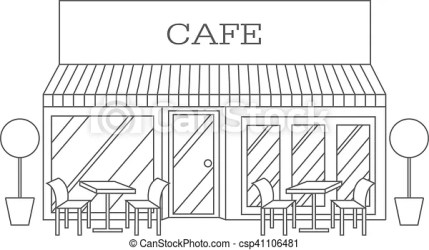building cafe restaurant line vector illustration clipart drawing icon drawings clip