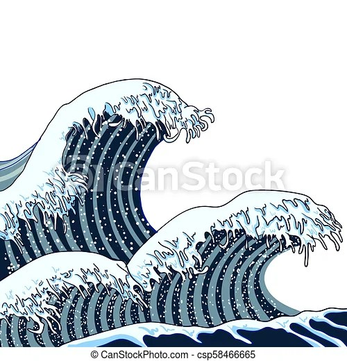 vector japanese waves illustration
