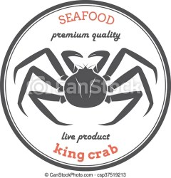 vector king crab silhouette label illustration food clip template clipart cartoon crabs packaging restaurants stores animal illustrations line seafood throne