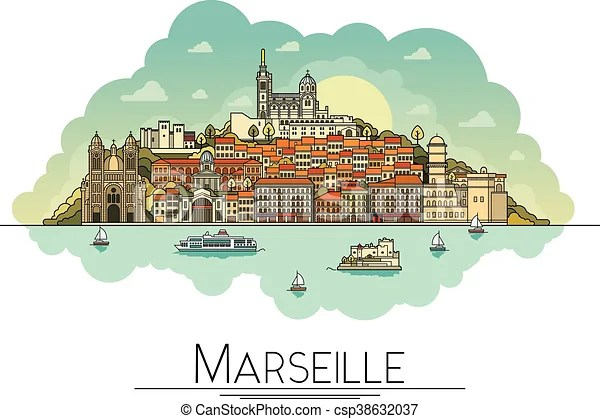 Vector line art marseille, france, travel landmarks and architecture icon. the most popular tourist destinations, city streets, cathedrals ...