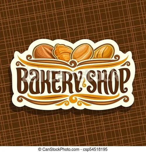 Vector Logo For Bakery Shop On Signboard Original Brush Typeface
