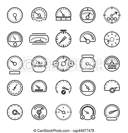 Vector meter and gauge control icons for dashboard. linear