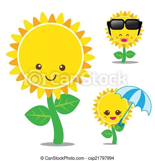 vector of smile sunflower set