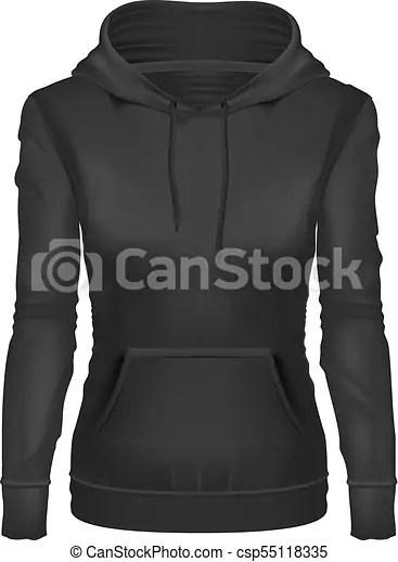 Black Hoodie Template : black, hoodie, template, Vector, Realistic, Black, Hoodie, Template, Mockup., Woman, Hooded, Sweatshirt,, CanStock