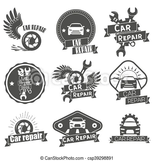 Vector set of auto service labels in vintage style. car