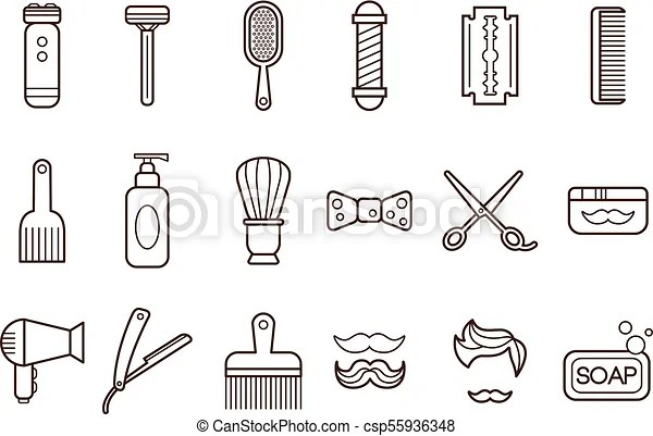 Vector set of barber shop elements. electric shaver and