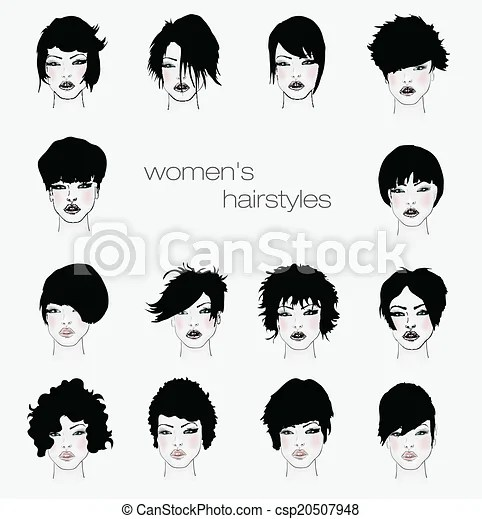 Vector set of female hair styles with beautiful face.