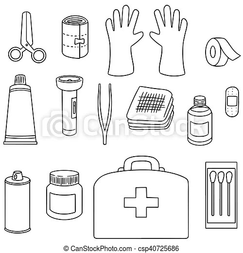 Vector set of first aid kit.