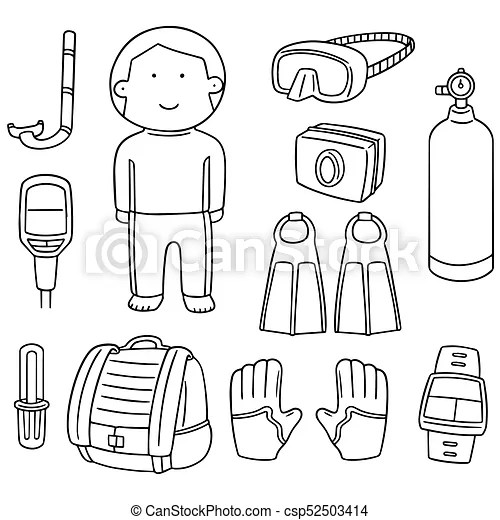 Vector set of scuba diving equipment vector clip art