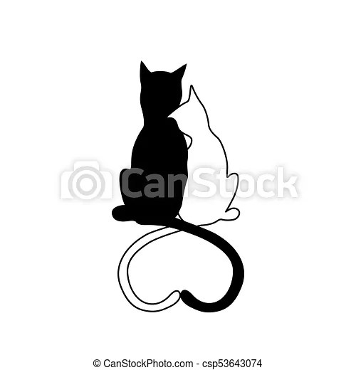 Download Vector silhouette of cat couple in love with shape heart ...