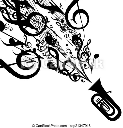 Vector silhouette of tuba with musical symbols. includes