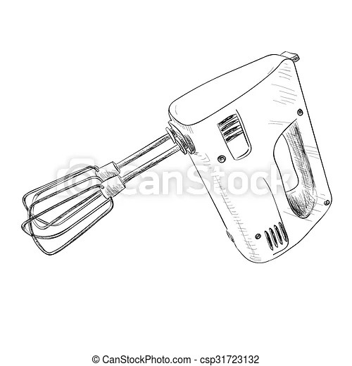 Vector sketch of electric mixer. hand draw illustration.