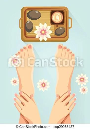 vector spa feet cartoon