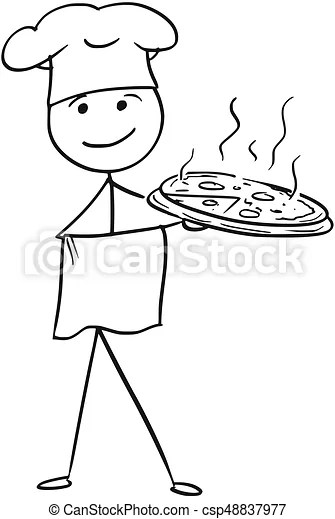Vector stick man cartoon of male cook chef in hat holding