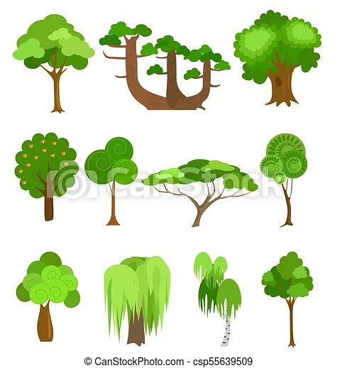 vector trees icons illustrations