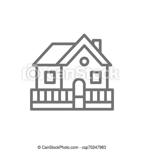 Vector Vacation Home Country House Line Icon Symbol And Sign Illustration Design Isolated On White Background