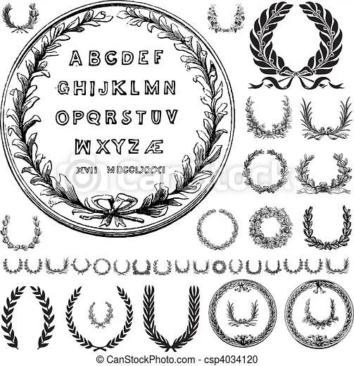 Vector wreaths and greek letters. Set of vector wreath