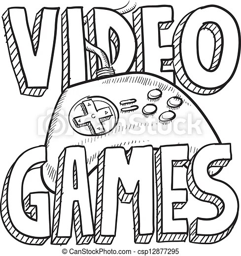 Video games sketch. Doodle style video games sports
