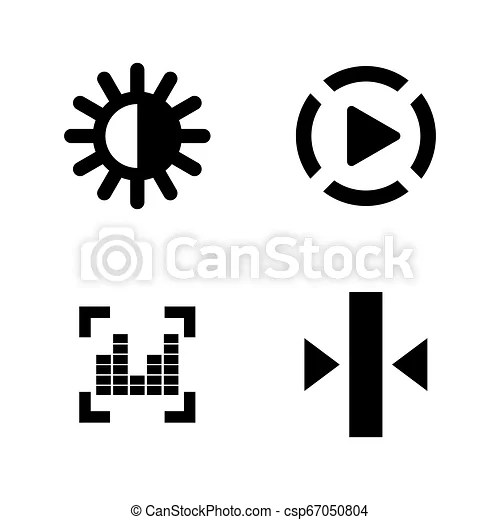 Video photo music editing. simple related vector icons set