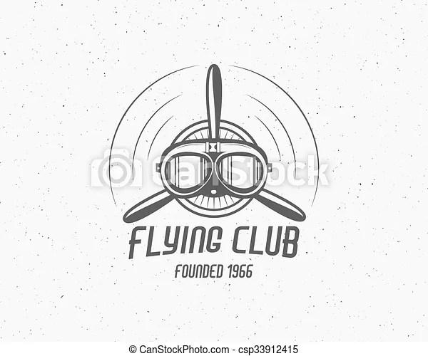 Vintage airplane emblem. biplane label. retro plane badge