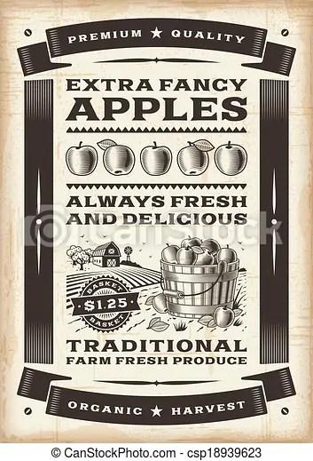 vintage apple harvest poster