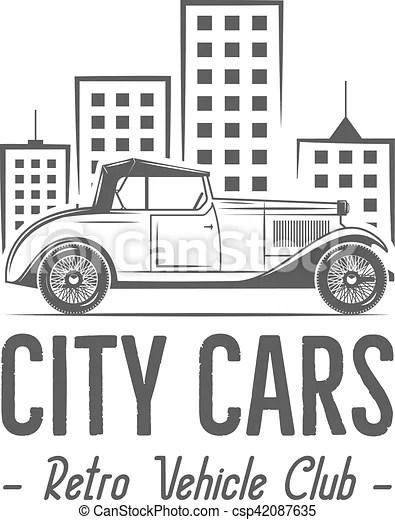 Vintage city car label design. classic auto badge