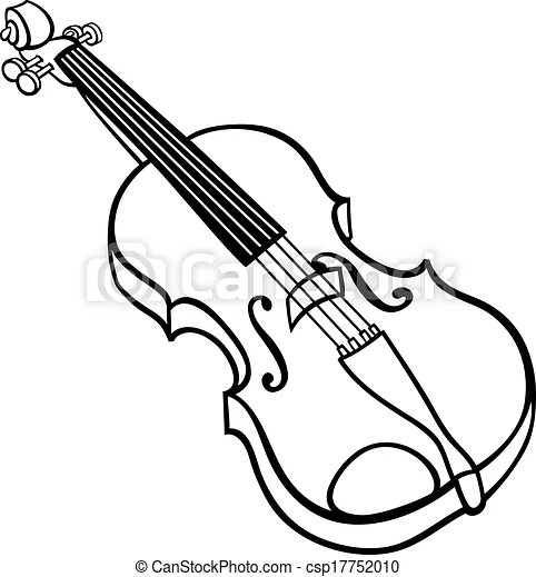 Violin cartoon illustration coloring page. Black and white