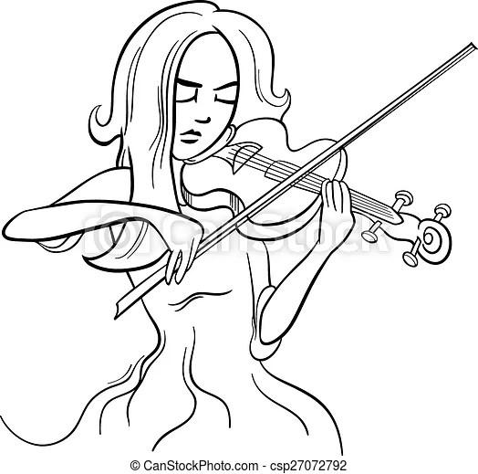 Violinist girl cartoon illustration. Black and white