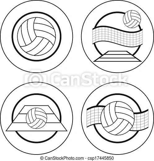 Volleyball emblems template. Set of four volleyball black