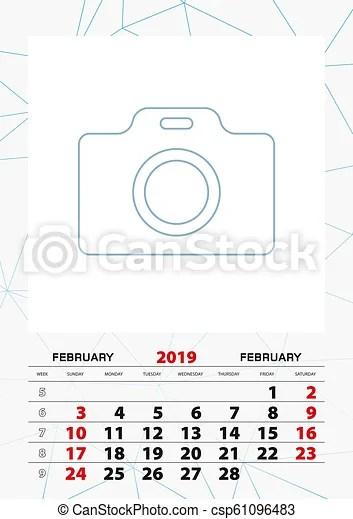Wall calendar planner template for february 2019, week