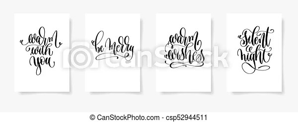 Set of 4 hand lettering vector posters on a white sheet of