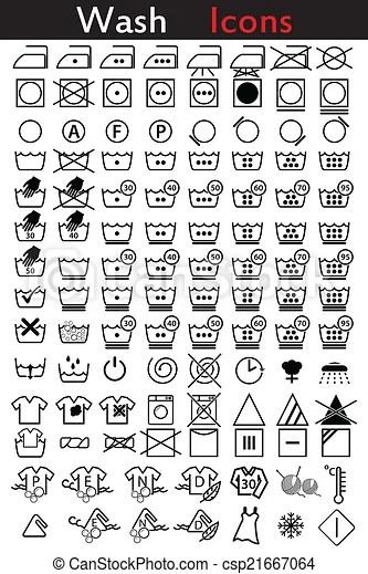 Washing instruction icons. Washing instruction icon set of