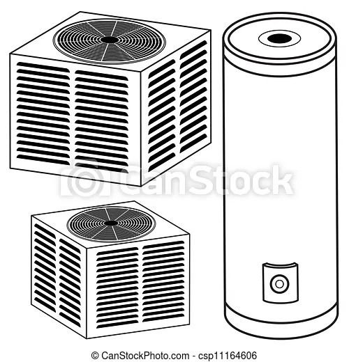 An image of a water heater and air conditioner. vector