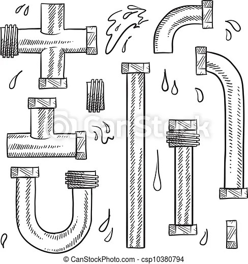 Water pipes and plumbing sketch. Doodle style water pipes