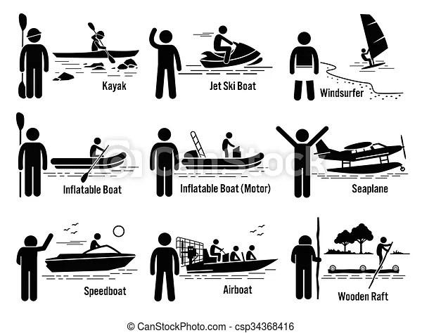 Water sea recreational vehicles. Vector set of water