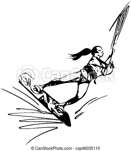 Water skiing illustration. Water skiing abstract vector