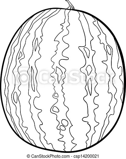 Watermelon illustration for coloring book. Black and white