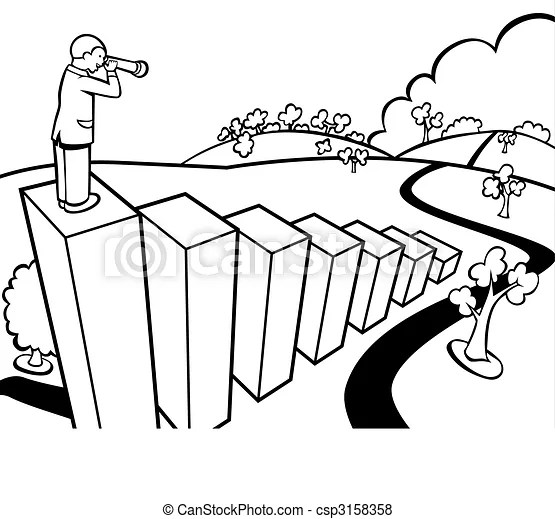 Wealthy perspective line art. Cartoon of a businessman