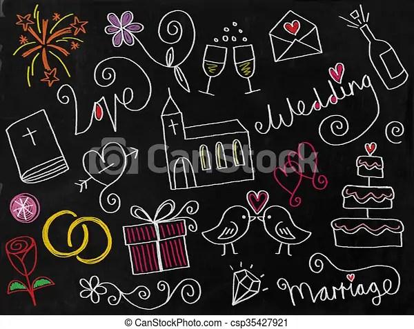 wedding doodle chalkboard icons