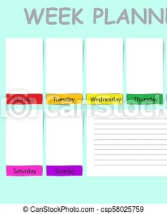 Weekly planner containinig timeline place for daily goals  chart notes and white charts each day of the week ready your text also with rh canstockphoto