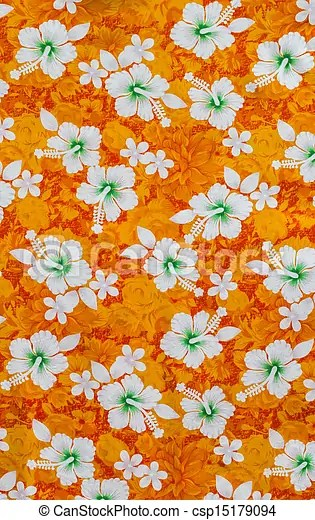 Cute Pink Wallpaper 1980 White Hibiscus Flowers On Fabric Pattern Orange Background