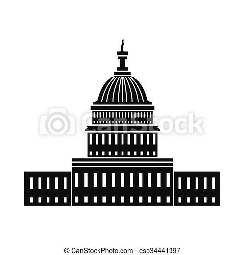 White house in washington dc icon. black simple style.