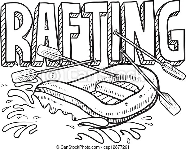 Whitewater rafting sketch. Doodle style whitewater rafting