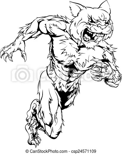 Wildcat sports mascot running. A wildcat man character or