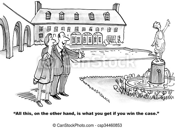 Win the case. Legal cartoon about what the lawyer will