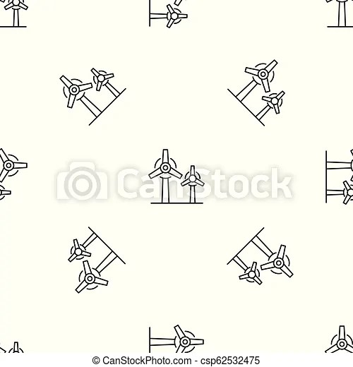 Wind power plant pattern seamless vector repeat geometric