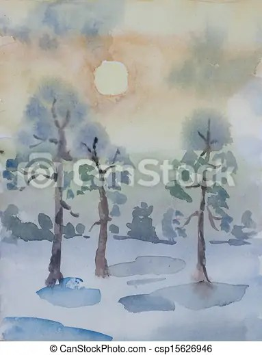 Winter Pine Forest In Dawn Primitive Watercolor Art