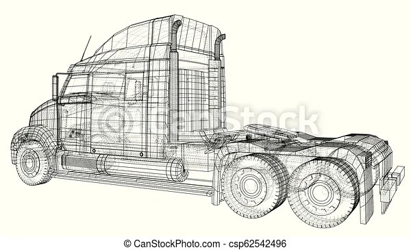 Wire-frame big truck vector. isolated on white background