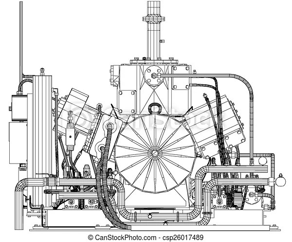 Wire-frame industrial equipment engine. eps 10 vector format.