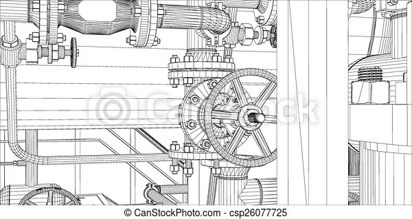 Wire-frame industrial equipment on white background. eps